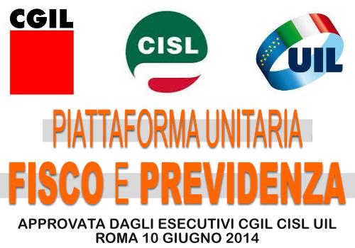 Piattaforma unitaria CGIL CISL UIL - Fisco e Previdenza