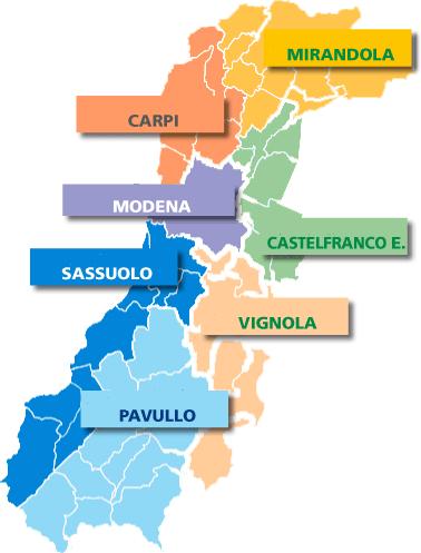 Mappa Zone / Distretti CGIL Modena