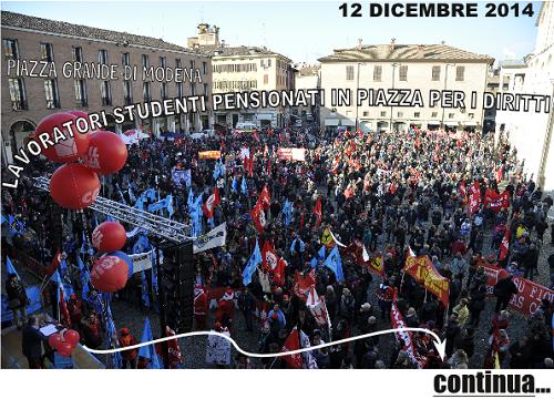 Piazza Grande di Modena - Sciopero generale del 12 Dicembre 2014 - CGIL UIL