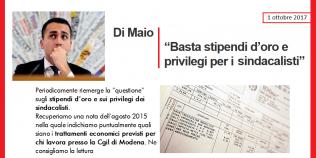 Di Maio: stipendi d'oro e privilegi sindcalisti - Confronto con quelli della Cgil