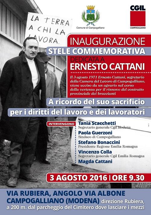 Locandina inaugurazione stele commemorativa dedicata ad Ernesto Cattani