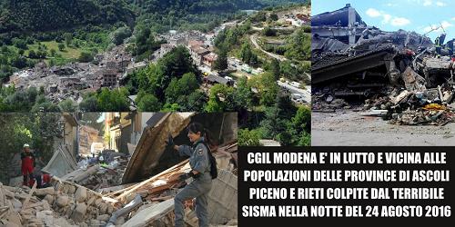 Cgil Modena in lutto è vicina alle popolazioni delle province di Ascoli Piceno e Rieti