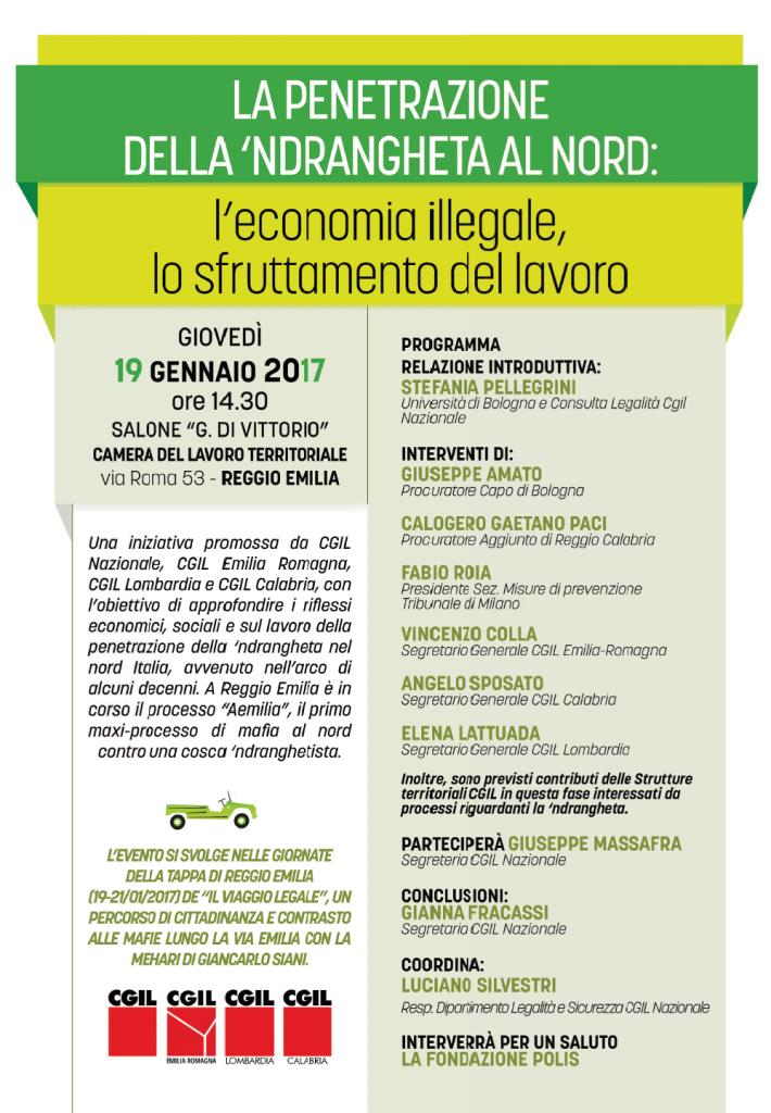 La penetrazione dell'indrangheta al nord: economia illegale e sfruttamento del lavoro, Reggio Emilia 19.1.17