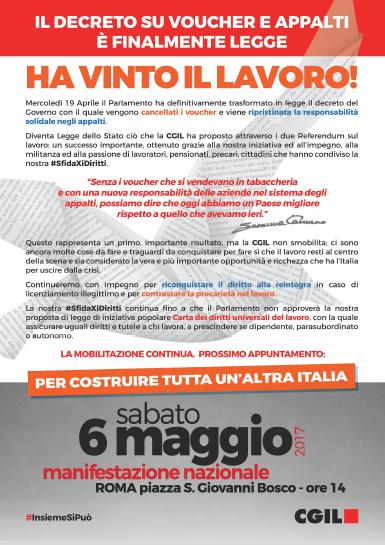 manifestazione 6 maggio 2017 Roma