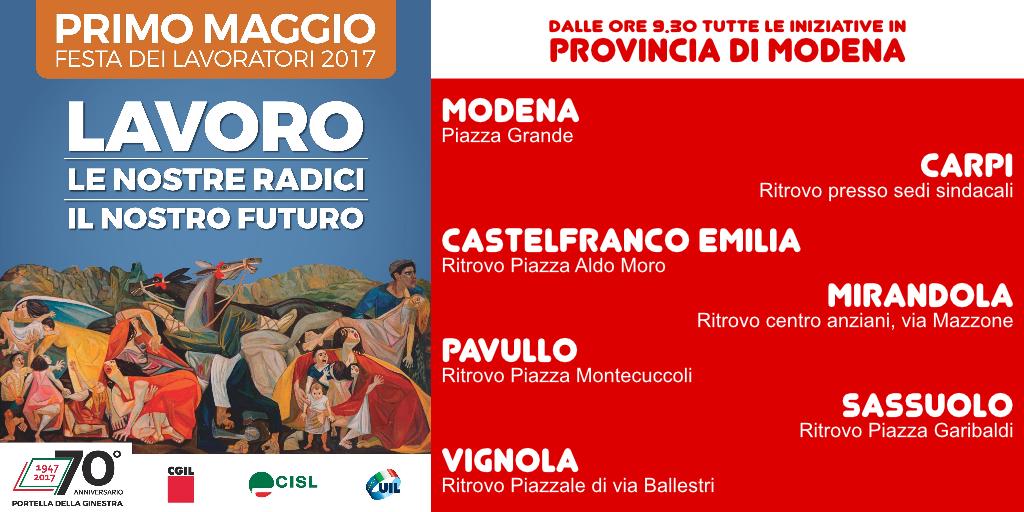 1° MAGGIO 2017 manifestazioni Modena