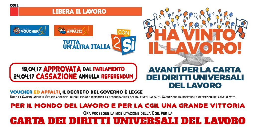 Referendum Lavoro: decreto convertito da Parlamento, cassazione annulla referendum