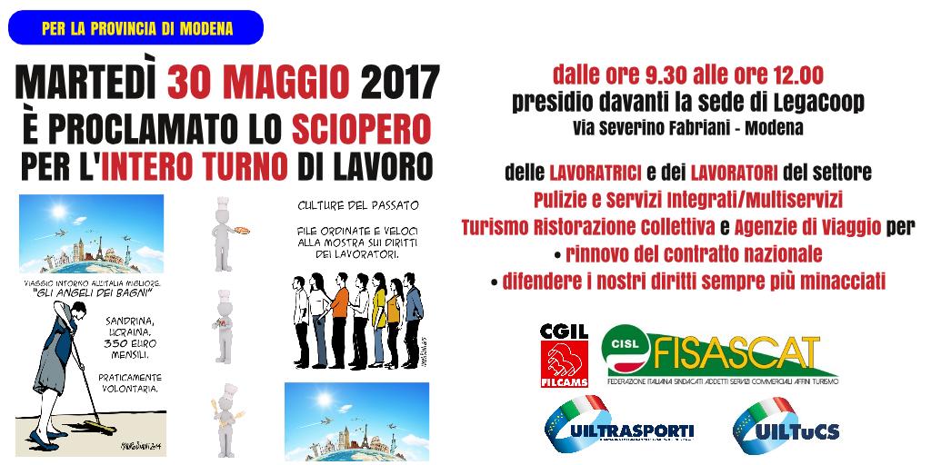 sciopero nei settori del turismo e multiservizi in provincia di Modena - 30 maggio 2017
