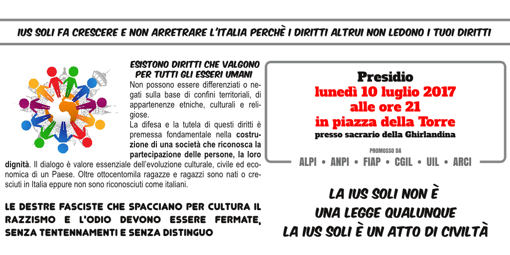 10 luglio 2017 - Presidio Sacrario Ghirlandina per ius soli