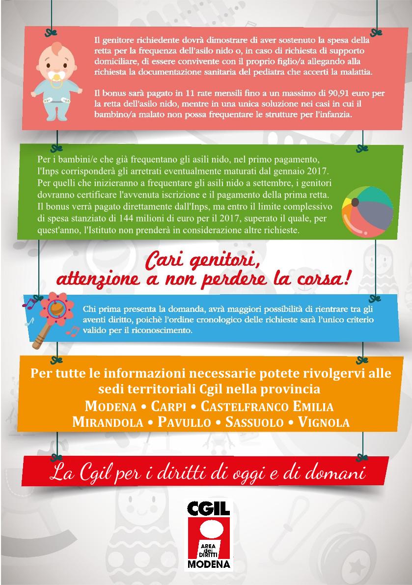 Bonus Asilo Nido 2017 - Area diritti Cgil Modena