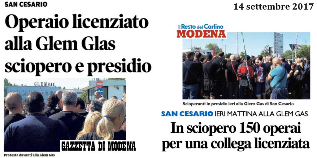 titoli stampa locale sciopero glem gas 13 settembre 2017