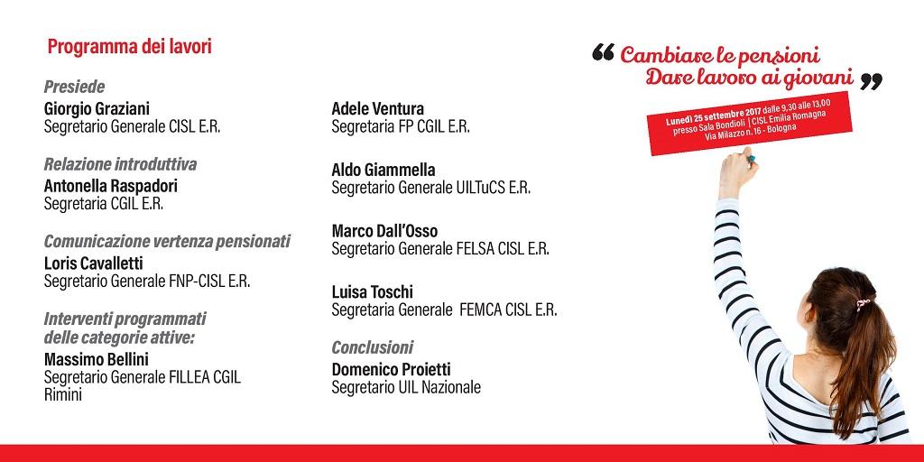 Cambiare le pensioni, dare da lavorare ai giovani - Bologna, 25/9/2017