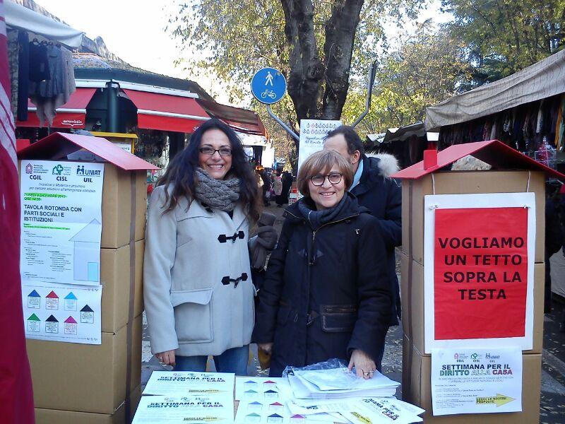 settimana Sunia-Sicet-Uniat per il diritto alla casa ad affitto sostenibile dicembre 2013, in foto E.Cella-A.Mencarelli
