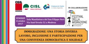 """Immigrazione una storia diversa. Nell'ambito del """"Festival delle Migrazioni"""" - 13 ottobre 2017"""