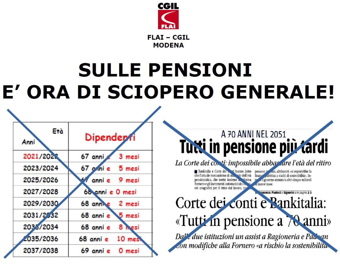 OdG attivo Flai Modena - Richiesta proclamazione sciopero generale pensioni - 18/10/2017