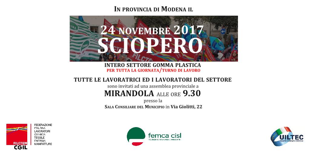 Sciopero settore gomma plastica - 24 novembre 2017