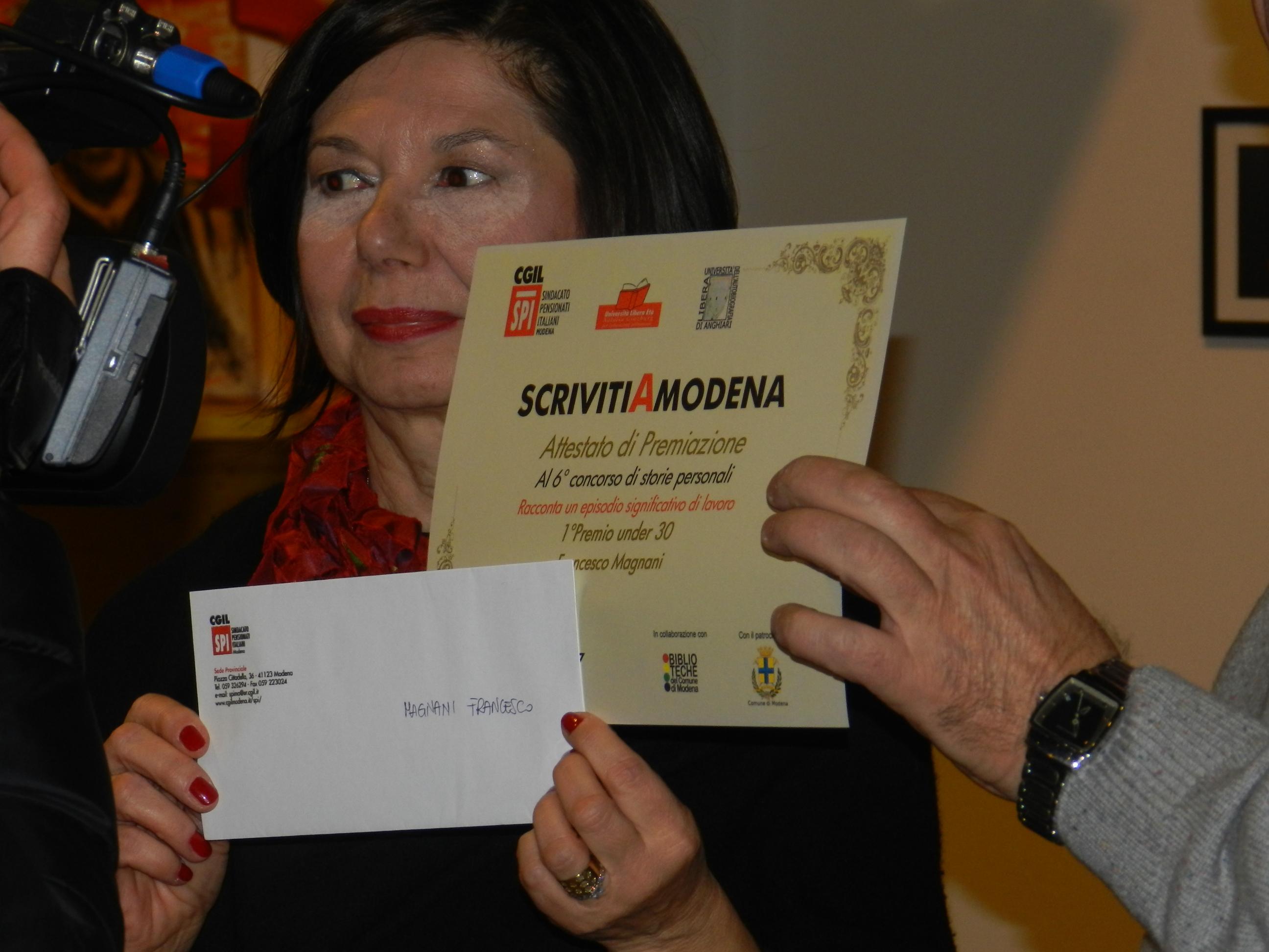 scrivitiAmodena il premio a Francesco Magnani