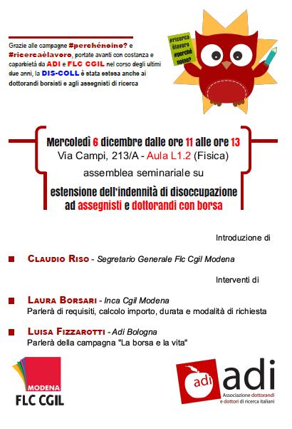 assemblea_assegnisti_dottorandi indennità disoccupazione 6.12.17