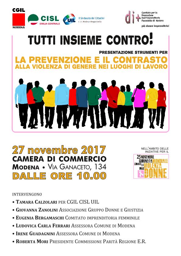 27 novembre tutti insiome contro violenza sulle donne