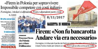 Processo Firem - Titoli stampa modenase - 8-11-2017