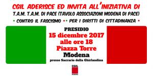 Banner presidio antifascista e per i diritti alla cittadinanza al sacrario della Ghirlandina - 15/12/2017