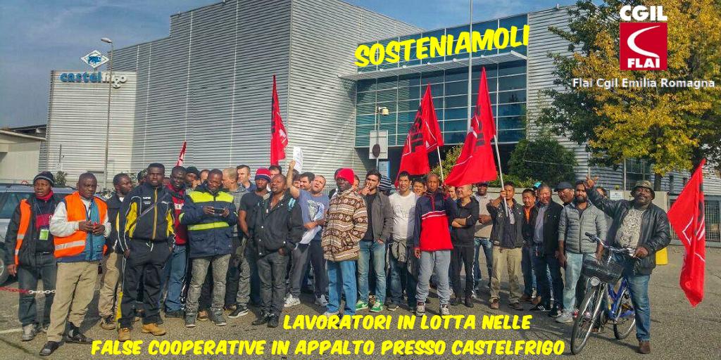 lavoratori in lotta in appalto Castelfrigo - sosteniamoli