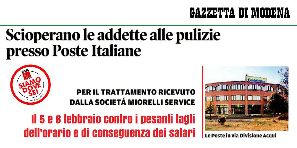 5 e 6 febbraio 2018, sciopero adette pulizia presso poste italiane
