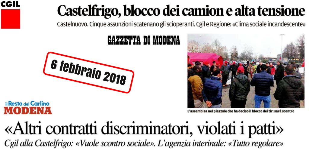 Castelfrigo, titoli stampa locale - 6/2/2018