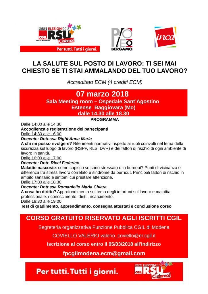 Volantino Corso ECM Modena - 7 marzo 2018