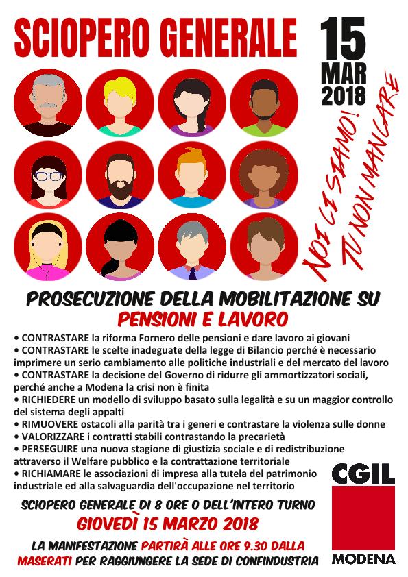 Sciopero generale Cgil Modena - 15 marzo 2018