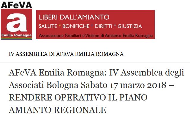 IV Assemblea degli associati per rendere operativo Piano regionale amianto, Bologna 17.3.18