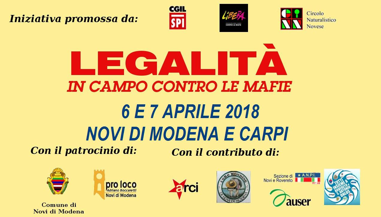 legalità in campo contro le mafie, Spi Novi 6 e 7 aprile 2018