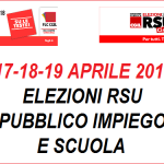 elezioni Rsu Pubblico Impiego e Scuola, 17-18-19 aprile 2018