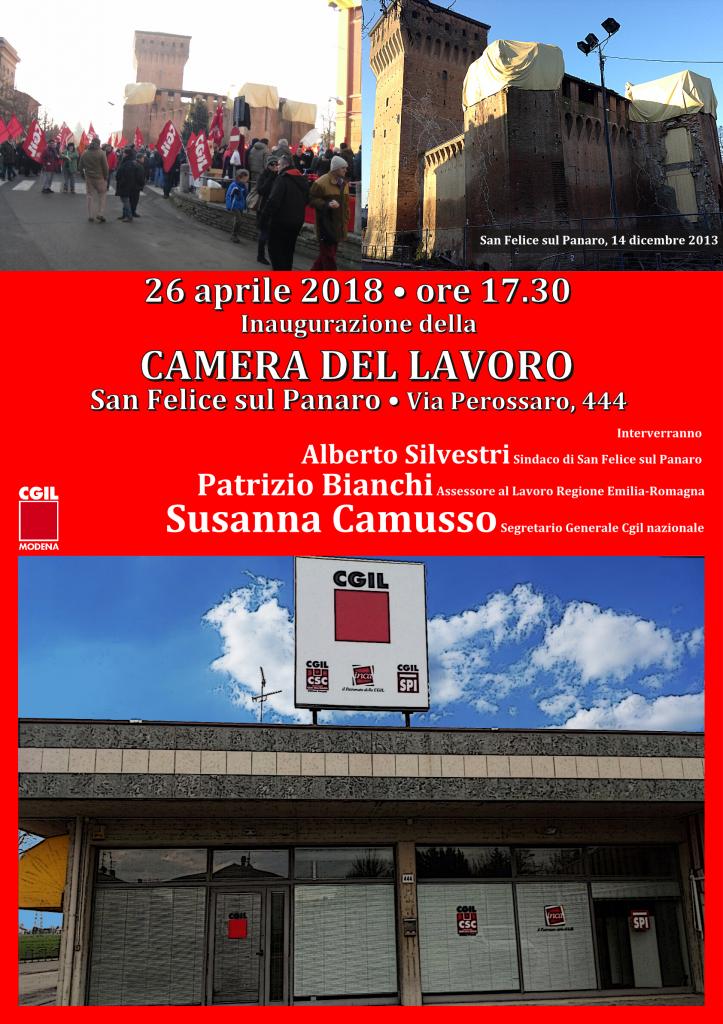 Locandina inaugurazione sede Camera del Lavoro San Felice sul Panaro