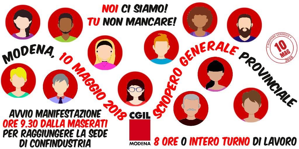 Sciopero generale provinciale - Modena, 10 maggio 2018