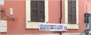 striscioni di Forza Nuova presso le Camere del Lavoro di Rimini, Ravenna, Cesena