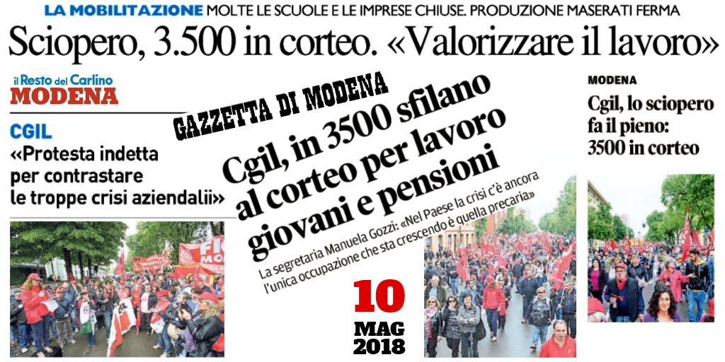 sciopro 10.5.18 - titoli della Gazzetta di Modena e de il Resto del Carlino Modena