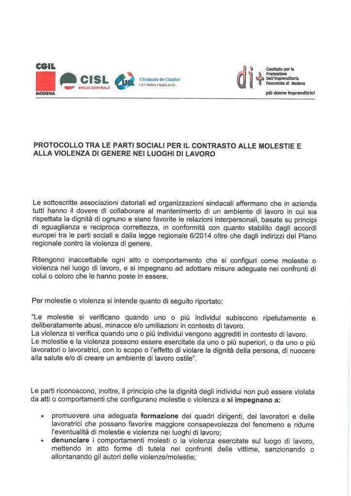 Protocollo tra le parti sociali per contrastare molestie e violenze di genere nei luoghi di lavoro (pag. 1) - Modena, 25/11/2016