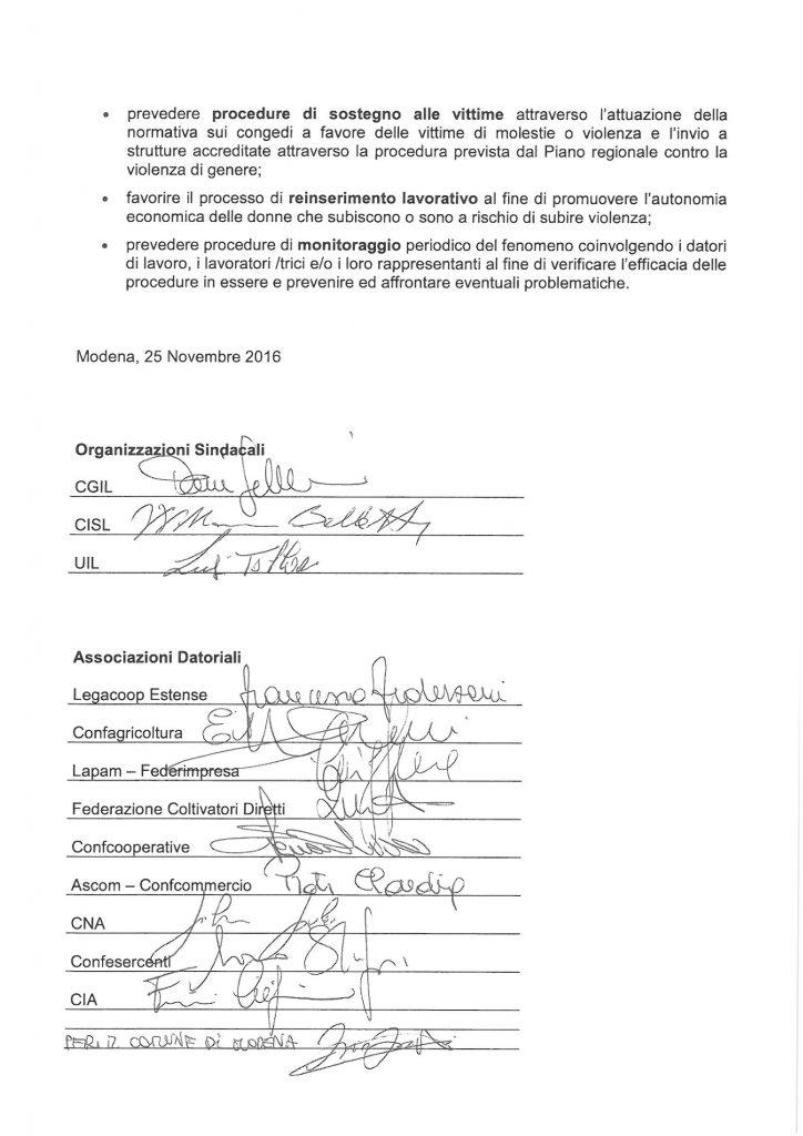 Protocollo tra le parti sociali per contrastare molestie e violenze di genere nei luoghi di lavoro (pag. 2) - Modena, 25/11/2016