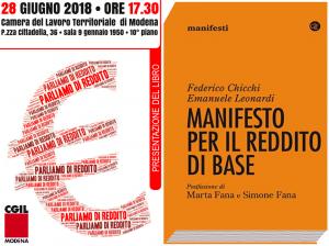 """presentazione del libro """"Manifesto per il reddito di base"""" - 28/6/2018 presso Cgil di Modena"""