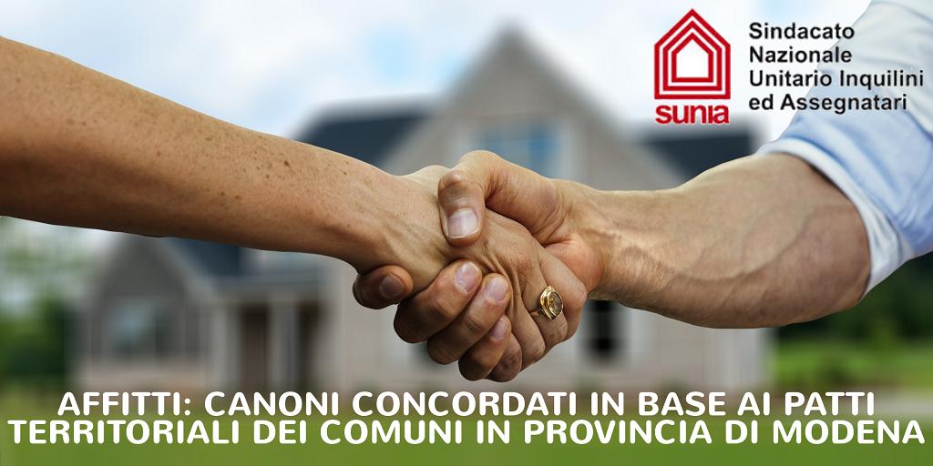 Affitti, canoni concordati in base ai patti territoriali dei Comuni in Provincia di Modena