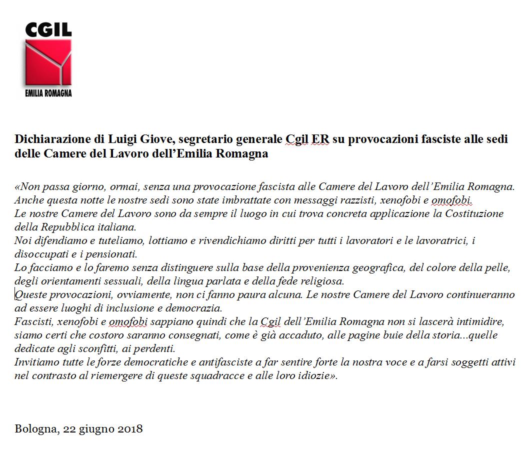 CGIL ER Dichiarazione Giove (segre. gen.) provocazioni fasciste sedi Cgil - 22-06-2018