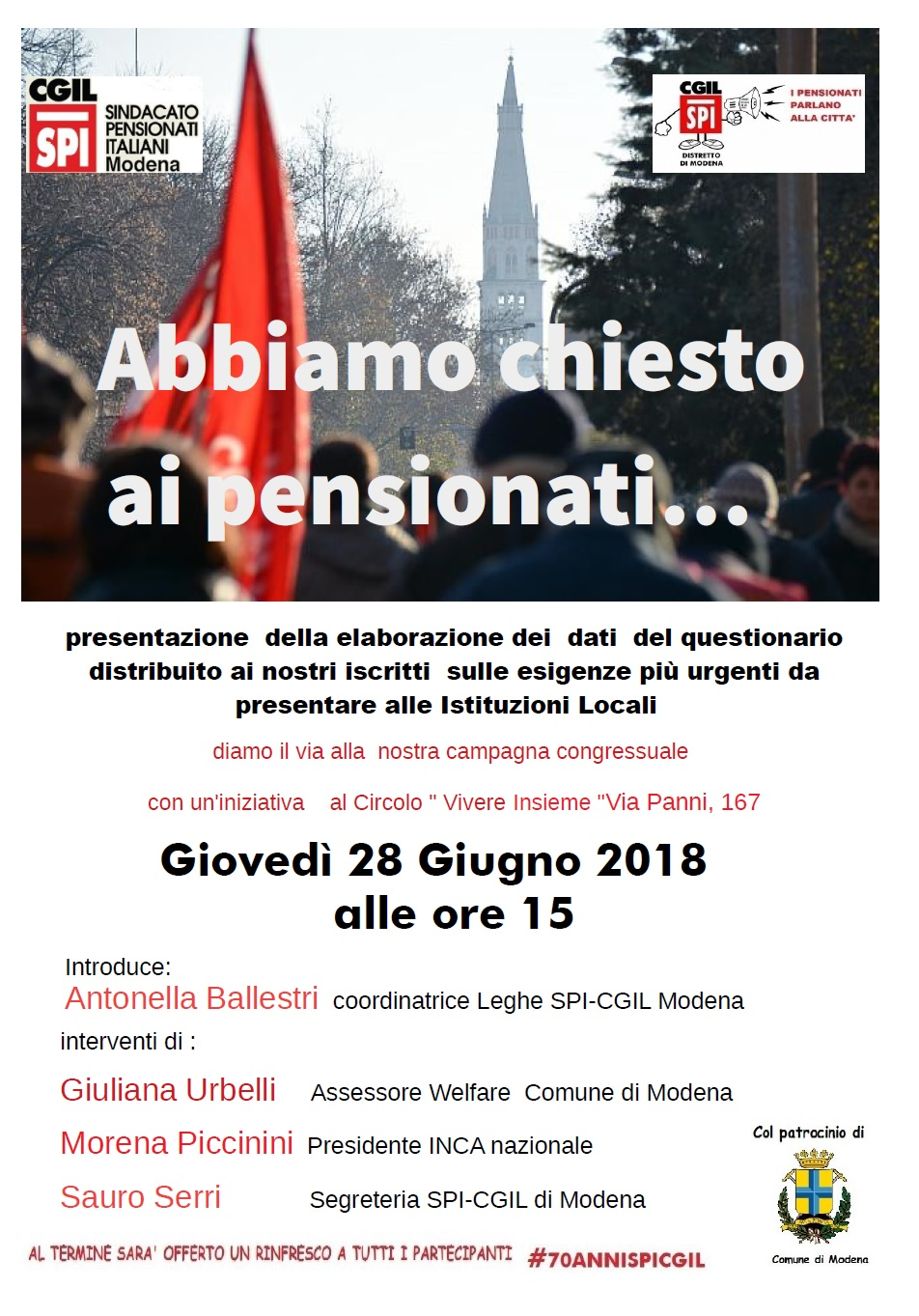 Abbiamo chiesto ai pensionati - Modena 28-6-2018