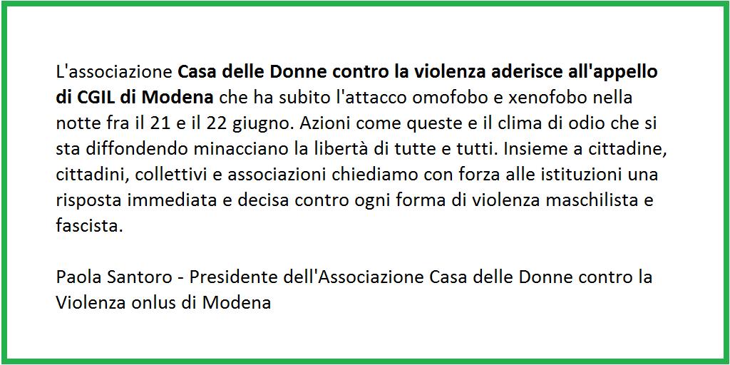 Casa delle donne aderisce all'appello della Cgil Modena - 23/6/2018