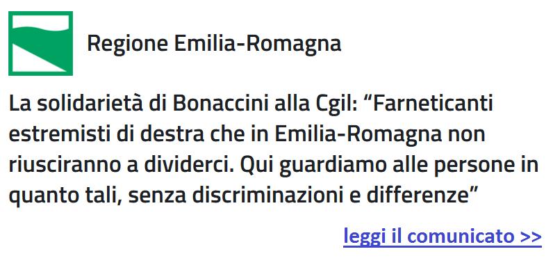 Comunicato stampa Bonaccini (presidente regione Emilia-Romagna