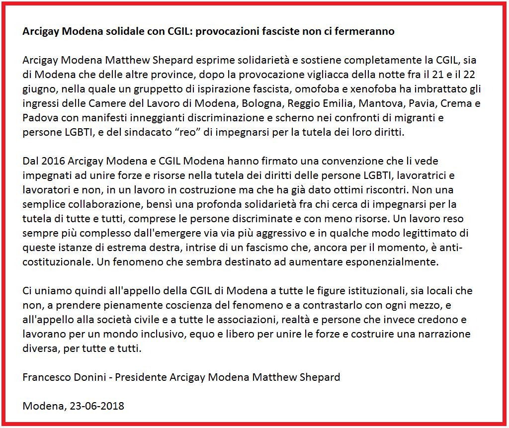 Arcigay Modena solidale con CGIL - 23/6/2018