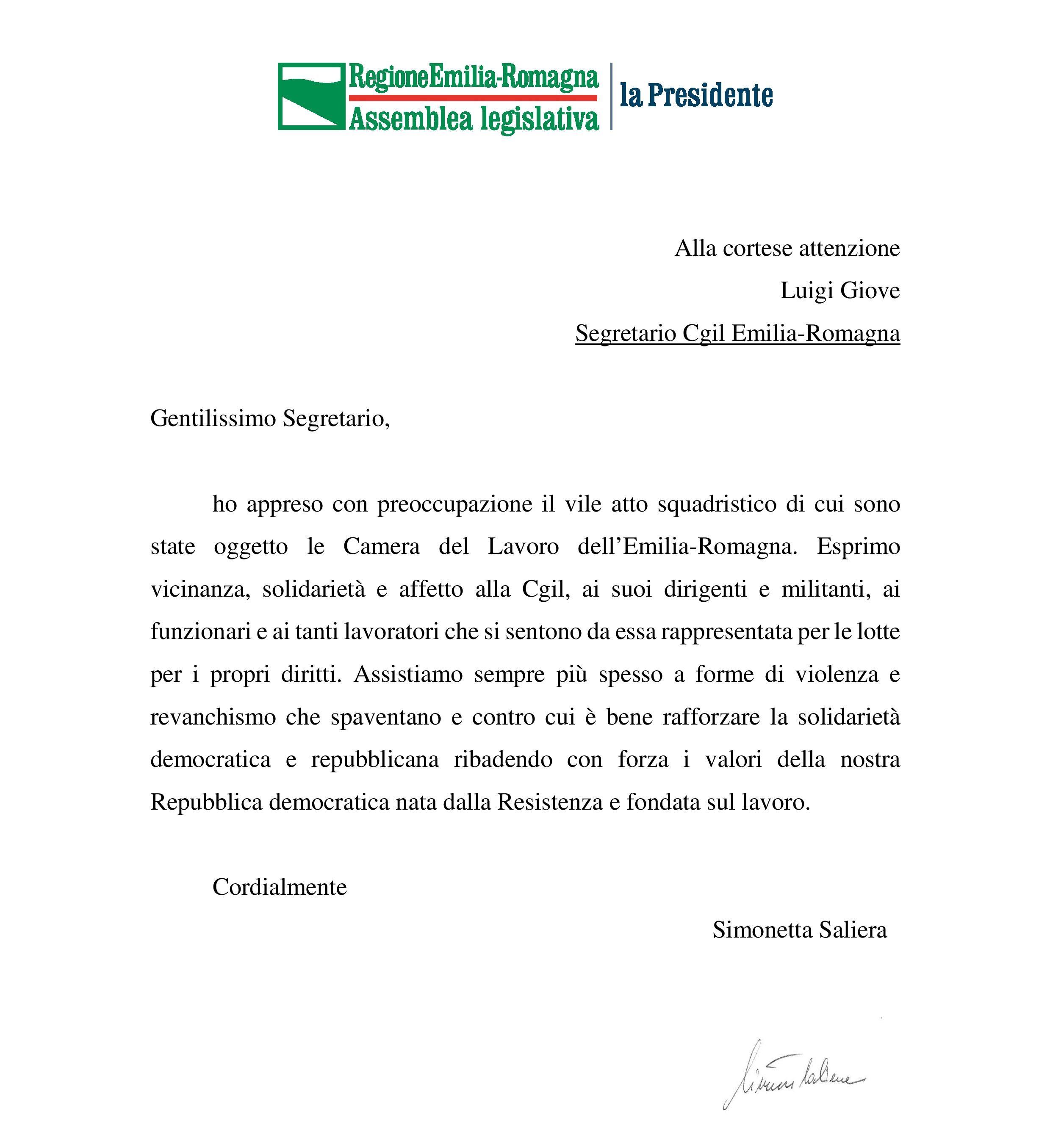 Lettera di solidarietà del Presidente Assemblea legislativa ER