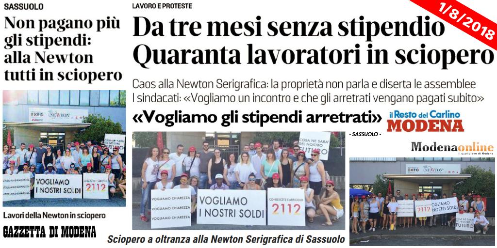 Newton Serigrafica Sassuolo - Titoli stampa locale - 1/8/2018