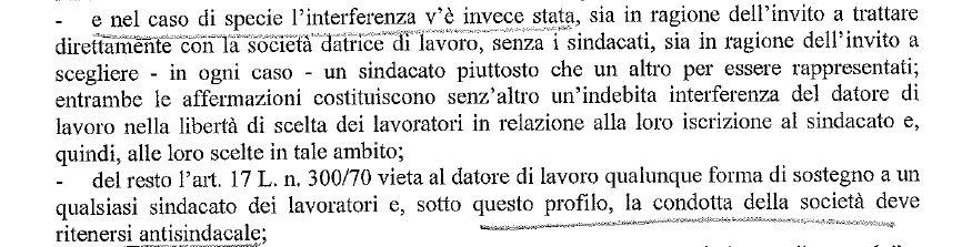 frame Decreto rigetto ricorso Flai Castelfrigo, 25.7.18