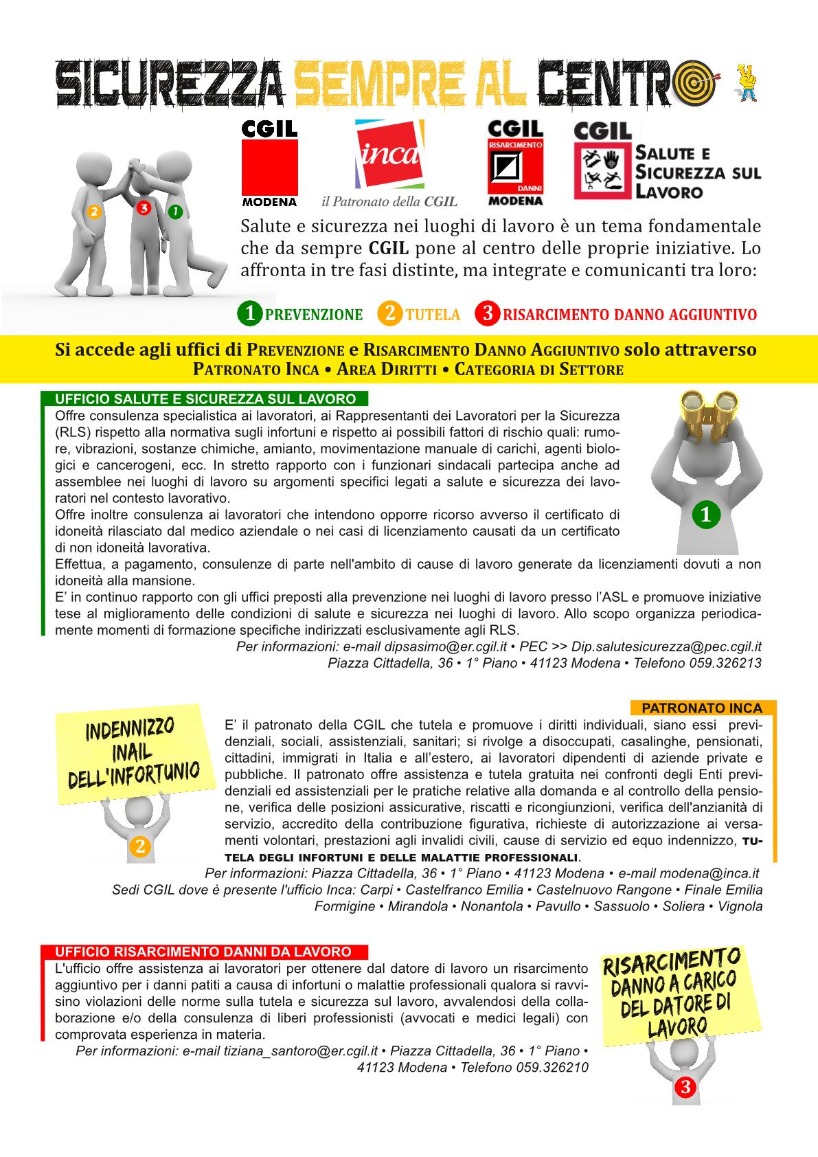 3 risposte di Cgil Modena per la salute e sicurezza sul luogo lavoro