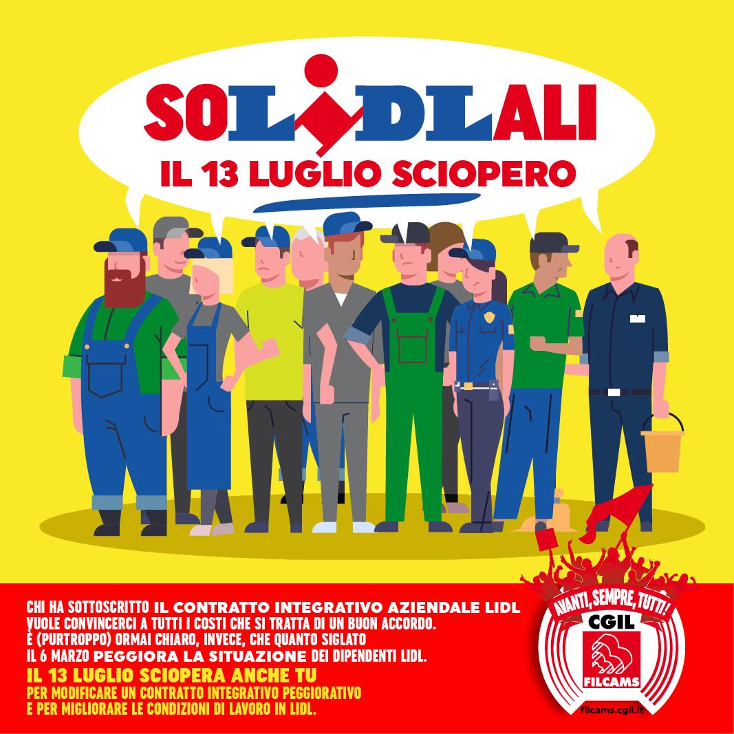 Filcams Cgil sciopero in Lidl, 13 luglio 2018